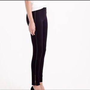 J. Crew Pixie Skinny Pants with leather detail